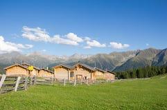 Cottage all'alpe 1 di Wiesner 945m nel ¼ di Davos Wiesen Graubà nden la vista della Svizzera di estate Fotografie Stock