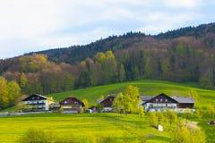 Cottage alpino austriaco idilliaco, terra di Salzburger, Austria Immagini Stock Libere da Diritti