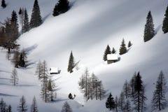 Cottage alpino in inverno Fotografia Stock