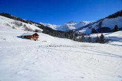 Cottage in the alps. Snow and cottage in the alps (savoie Royalty Free Stock Photo