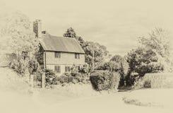 Cottage anglais le Sussex occidental, effet de pays de vintage image libre de droits