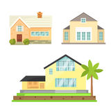 Cottage and assorted real estate building icons. Residential house collection in new cartoon style Stock Photography