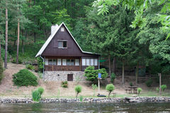 Cottage on the bank of the river Jihlava, Czech Republic in the. Summer day stock photo