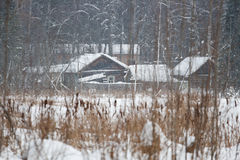 Cottage on the bank, snowstorm Stock Photography