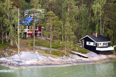 Cottage with a bath-house ashore the Baltic sea Royalty Free Stock Images