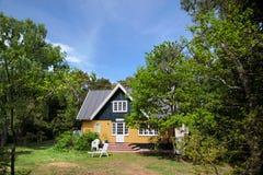 Cottage on the beach near Snogebaek on Bornholm Stock Images