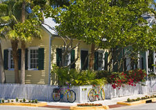 Cottage with bicycles. Cottage with brightly painted bicycles, Key West, Florida Royalty Free Stock Photo