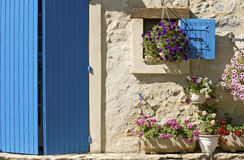 Cottage, blue door, shutter. Provence. Royalty Free Stock Photography