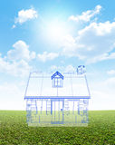 Cottage Blueprint On Green Lawn Stock Photos