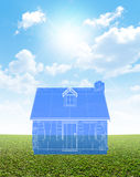 Cottage Blueprint On Green Lawn Royalty Free Stock Images