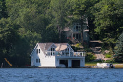 Cottage and a boathouse Royalty Free Stock Images