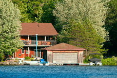 Cottage with a boathouse Royalty Free Stock Photos