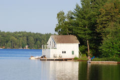 Cottage with a boathouse Royalty Free Stock Image