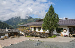 Cottage building with grillstation at  intermediate station for Bergbahnen Fieberbrunn Stock Images