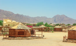 Cottage in a Camp in Sinai. Taba desert with the Background of the Sea and Mountains royalty free stock photography