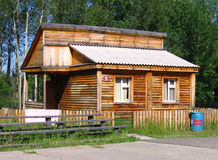 Cottage in camp site. Wooden cottage in camp site Royalty Free Stock Photos