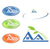 Cottage or camping emblem set Royalty Free Stock Photo