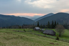 Cottage in the Carpathians. Mountains, sunrise, spring 2014 Royalty Free Stock Image