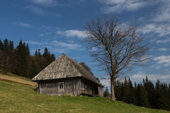 Cottage in the Carpathians. Mountains, sunrise, spring 2014 Stock Images
