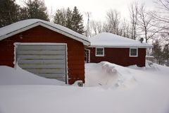 Heavy snow in cottage country Stock Photos