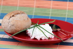 Cottage cheese. With bread on red plate Royalty Free Stock Images