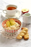 Cottage cheese with apple and homemade biscuits Stock Images