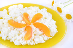 Cottage cheese with apricot slice Royalty Free Stock Image
