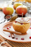 Cottage Cheese Baked In Apple With Cinnamon Stock Images
