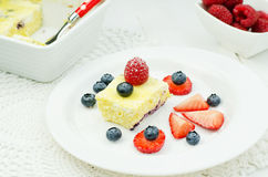 Cottage cheese baked pudding Stock Images