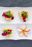 Cottage-cheese Baked Pudding ins heart shape with frangipani flo Stock Photography