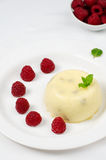 Cottage cheese baked pudding. With raspberries Stock Images