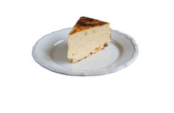 Cottage cheese baked pudding in a rustic style isolated Stock Images