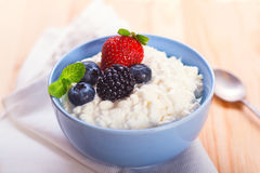 Cottage cheese with berries Royalty Free Stock Photo