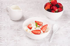 Cottage cheese with berries, fresh berries and milk Stock Image
