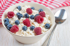 Cottage cheese with berries. Cottage cheese with raspberries and blueberries in a bowl on white wooden background Royalty Free Stock Images