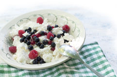 Cottage cheese with berries Stock Photos