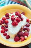 Cottage cheese with berry, nuts and maple syrup Stock Photography