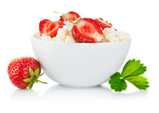 Cottage cheese with berry strawberry Royalty Free Stock Photo