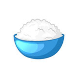 Cottage cheese in blue bowl. Dairy product. Cartoon icon. Isolated object on a white background. Vector illustration stock illustration
