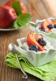 Cottage cheese with blueberries and caramelized peaches Royalty Free Stock Images
