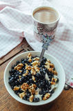 Cottage cheese with blueberries, nuts and honey. Cottage cheese with blueberries, walnuts and honey Royalty Free Stock Photo