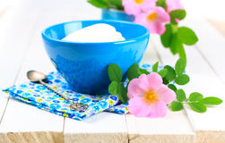 Cottage cheese  in bowl. Stock Photo