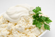 Cottage cheese in the bowl with  Stock Photo