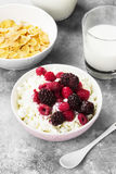 Cottage cheese in bowl with frozen raspberry, blackberry and cup of cornflakes, milk in glass on a light background.  Stock Photos