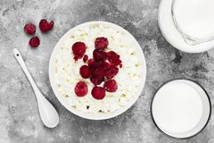 Cottage cheese in bowl with frozen raspberry and milk in glass o. N a light background. Top view. Food background Royalty Free Stock Images