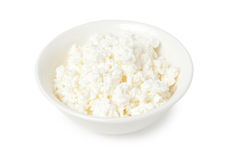 Cottage cheese in bowl Stock Images
