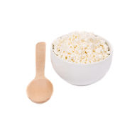 Cottage cheese in bowl. Stock Photos