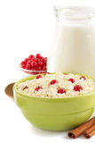 Cottage cheese in bowl Royalty Free Stock Images