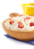 Cottage cheese in bowl Royalty Free Stock Photos