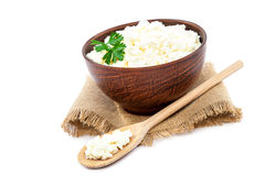 Cottage cheese in a bowl and a wooden spoon Stock Images
